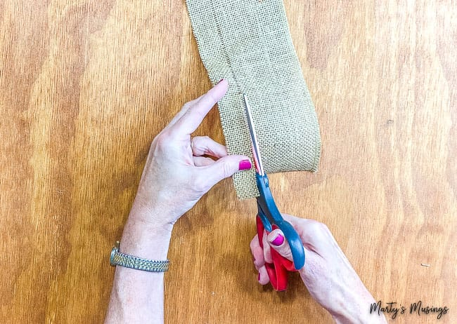 cut brown burlap ribbon