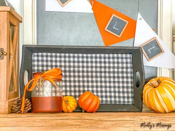 fall mantel with buffalo check tray and dollar store accessories