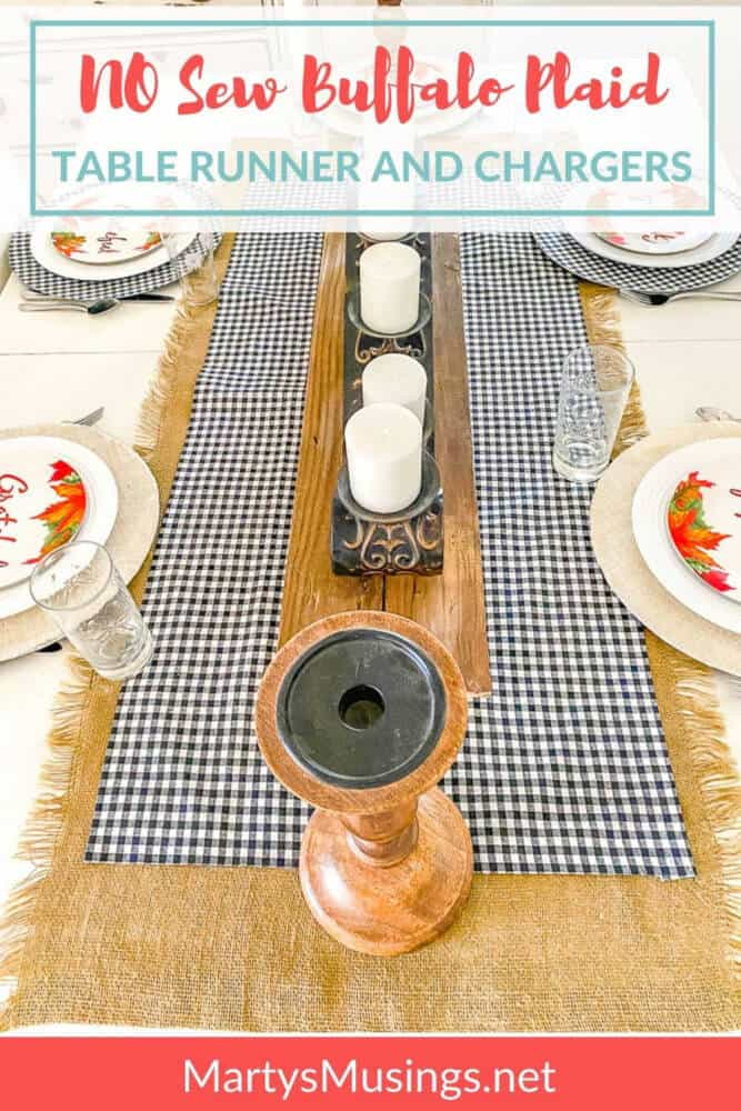 no sew buffalo plaid and burlap table runners for fall