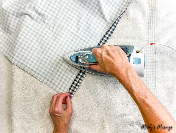 Press seam on buffalo plaid fabric