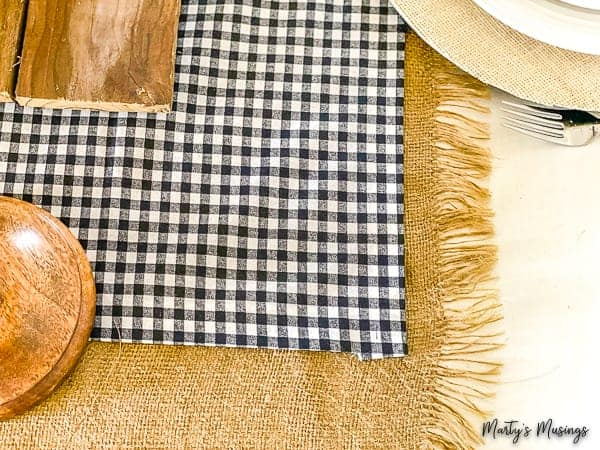 Burlap and buffalo plaid no sew runners in layered tables cape
