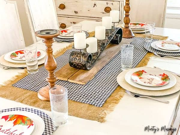 No Sew Table Runner and Buffalo Plaid Chargers