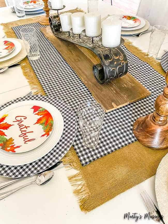 fall table with no sew buffalo plaid and burlap table runners