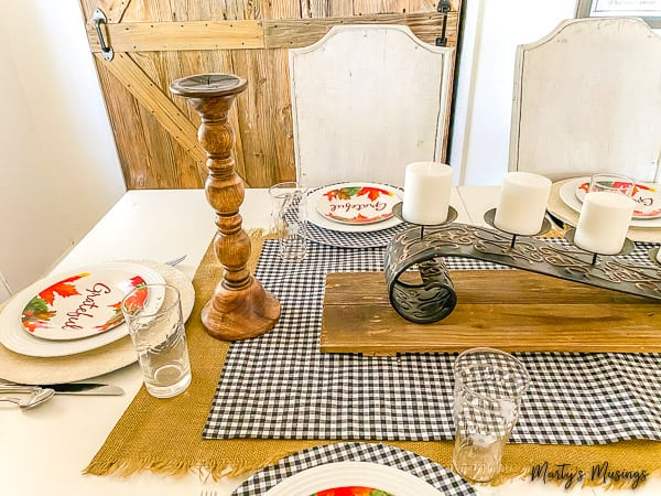 fall table with rustic wood accents and no sew table runners