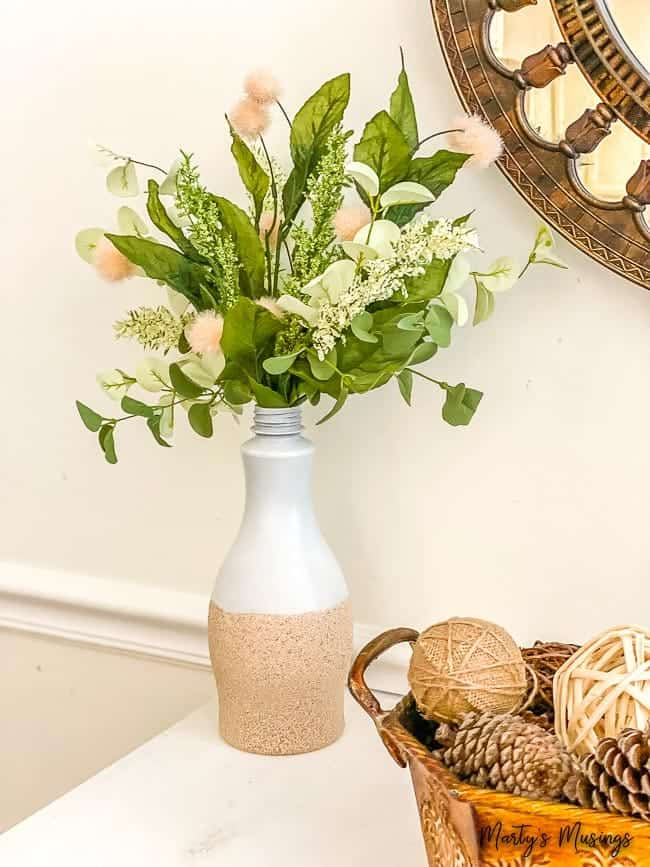 spray painted DIY Textured Vase for fall