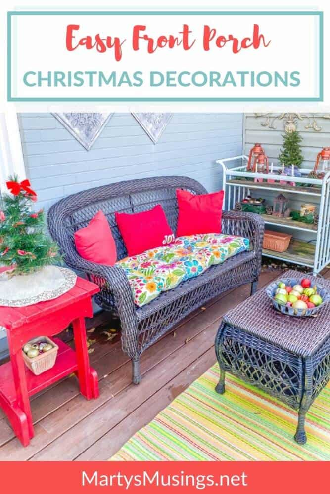 front deck with red pillows and Christmas ornaments