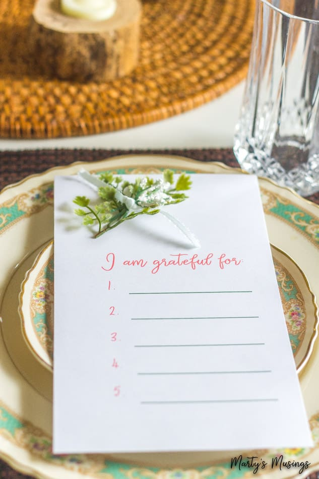 I am grateful printable with vintage china for Thanksgiving