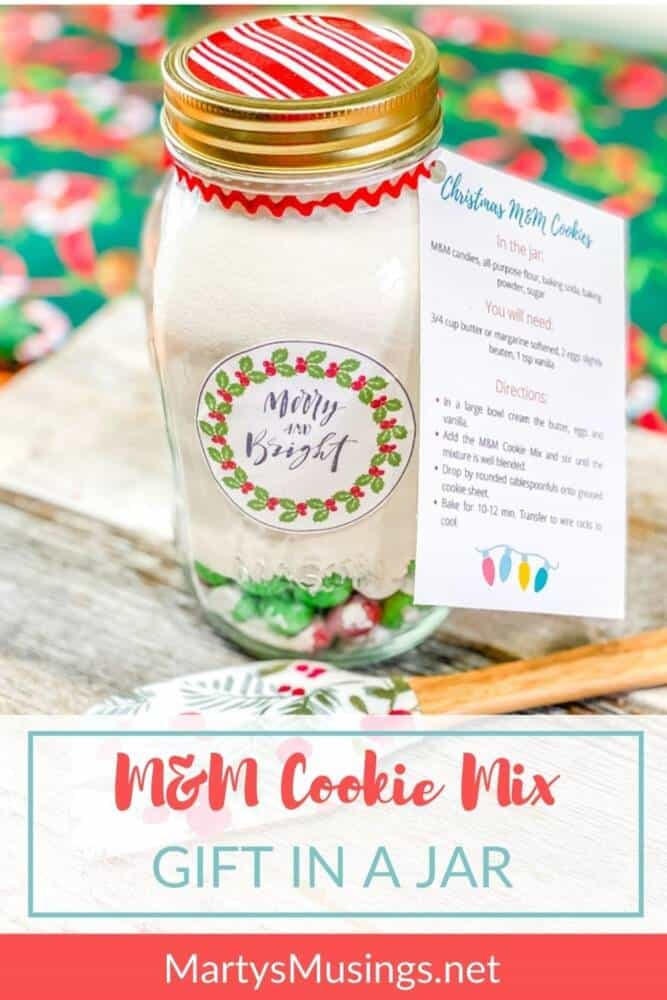 M&M Cookie mix in a jar with merry and bright label