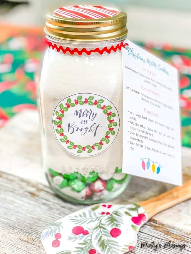 merry and bright label on mason jar with M&M cookie mix