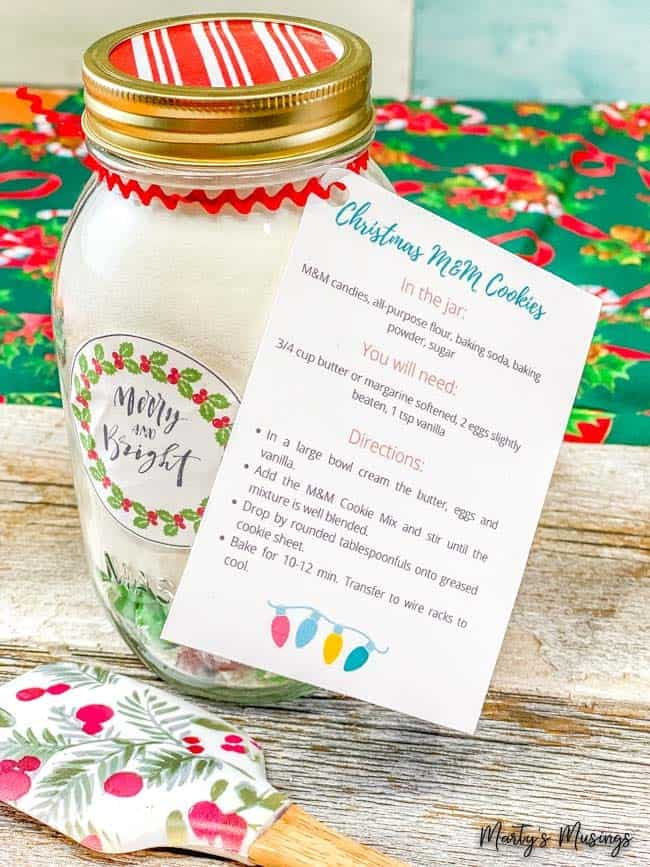 M&M Christmas cookie mix with instructions and merry and bright label