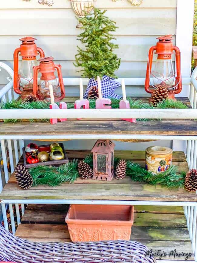 front porch Christmas decorations on a garden cart
