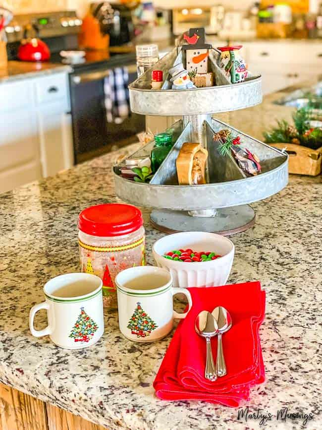 simple tips on how to decorate for Christmas on a budget with a cozy kitchen