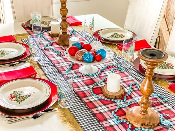 buffalo check decorations on the Christmas table