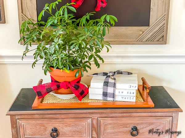 tray with greenery in a pot with buffalo check ribbon and painted books