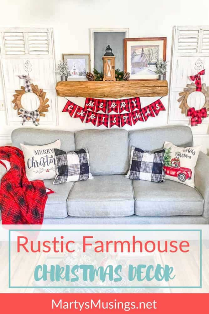rustic farmhouse christmas decor with red and black accents