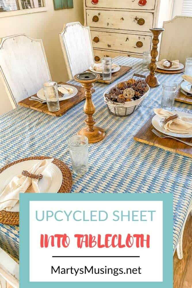 upcycled vintage sheet into tablecloth