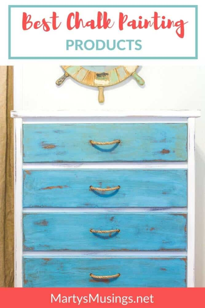 Blue and white dresser with best chalk painting products