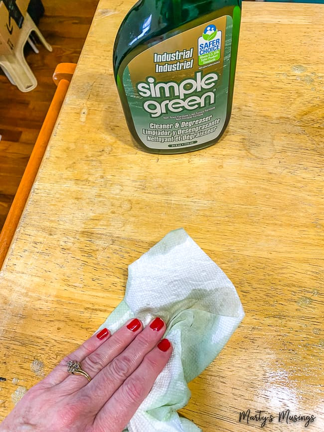 Simple Green cleaner used on wood surface