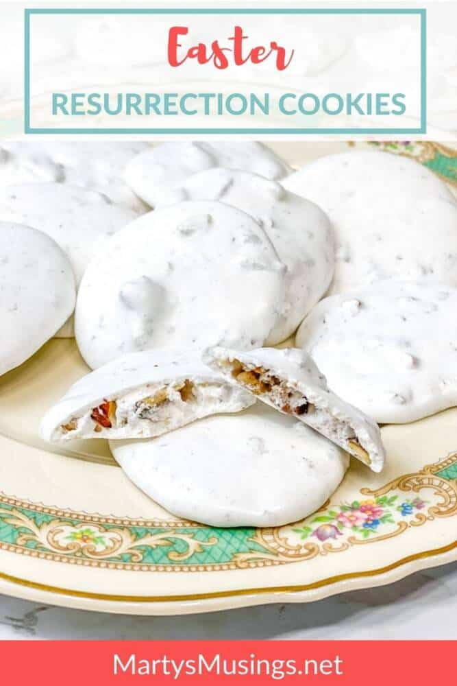 Easter Resurrection Cookies on a vintage china plate