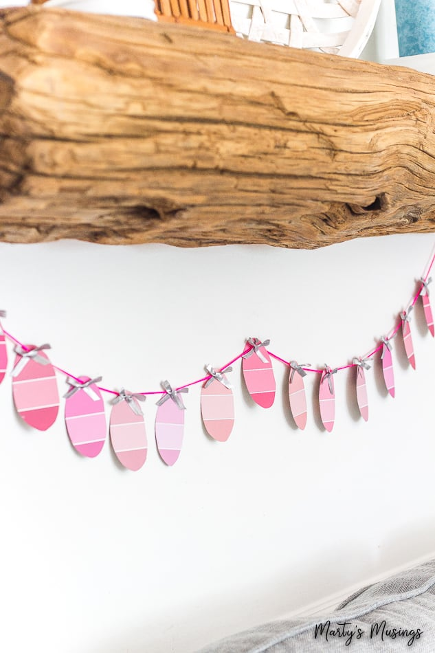 pink paint chip used to make an Easter banner