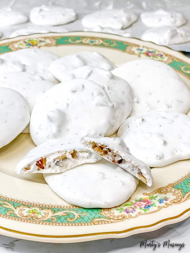 Easter Resurrection Cookies broken open on vintage plate