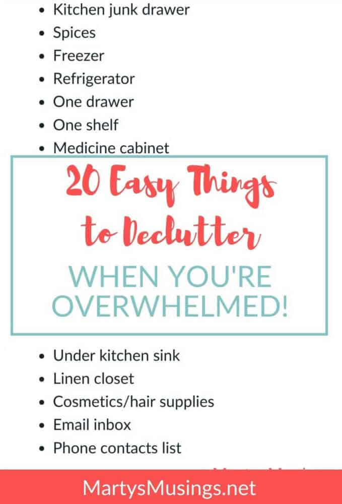 list of 20 easy things to declutter when you're overwhelmed