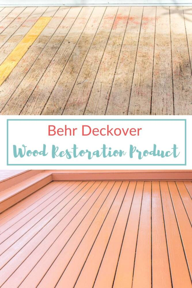 Before and after wood restoration of deck using Behr Deckover