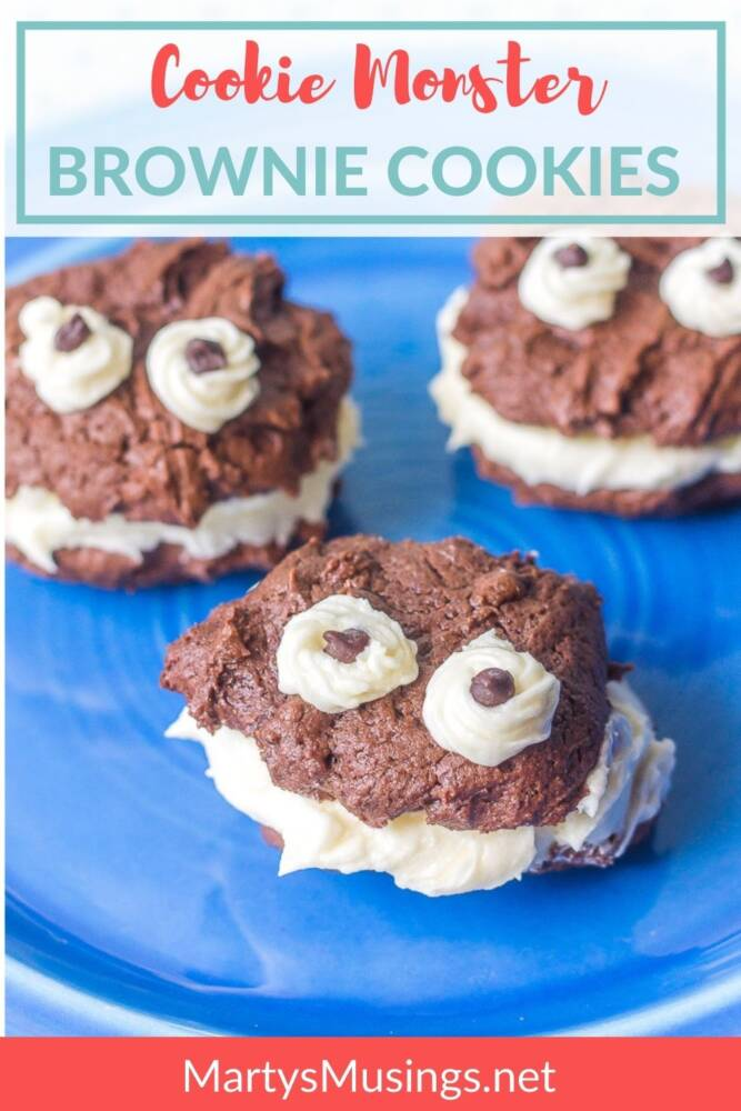Cookie Monster Brownie Cookies with white icing and chocolate chips